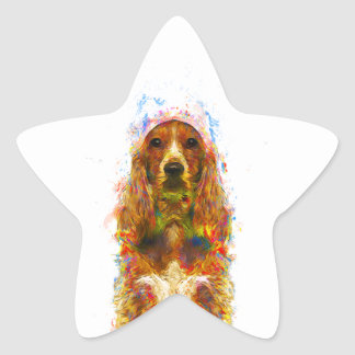 Cocker spaniel and watercolor star sticker