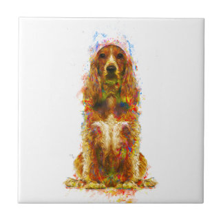 Cocker spaniel and watercolor tile