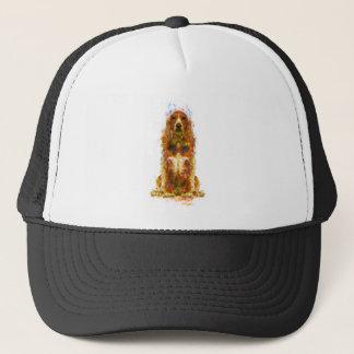 Cocker spaniel and watercolor trucker hat