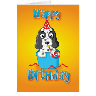 cocker spaniel - box - happy birthday card