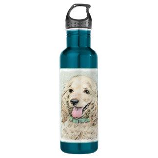 Cocker Spaniel Buff Painting - Original Dog Art 710 Ml Water Bottle