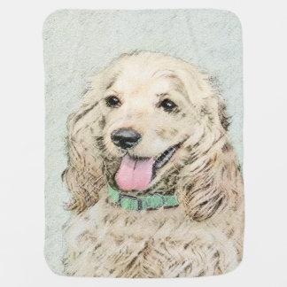 Cocker Spaniel Buff Painting - Original Dog Art Baby Blanket