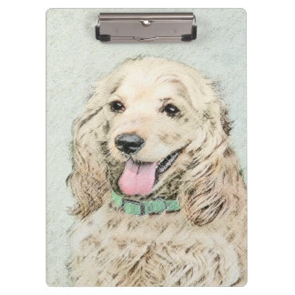 Cocker Spaniel Buff Painting - Original Dog Art Clipboard