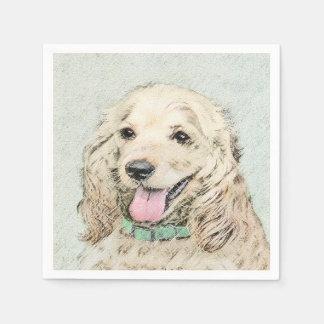 Cocker Spaniel Buff Painting - Original Dog Art Disposable Napkin