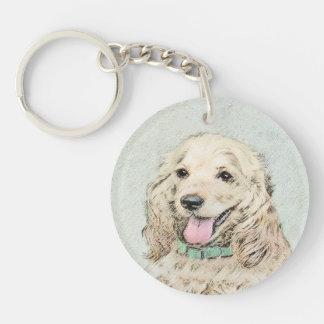 Cocker Spaniel Buff Painting - Original Dog Art Keychain