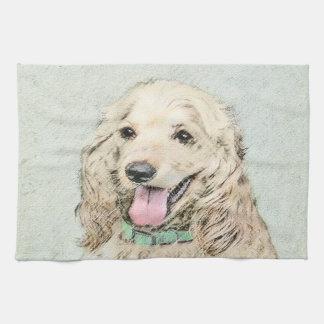 Cocker Spaniel Buff Painting - Original Dog Art Kitchen Towel