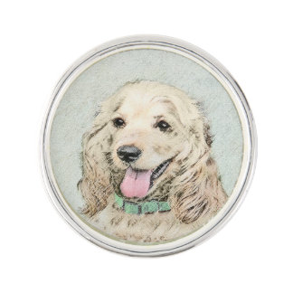 Cocker Spaniel Buff Painting - Original Dog Art Lapel Pin