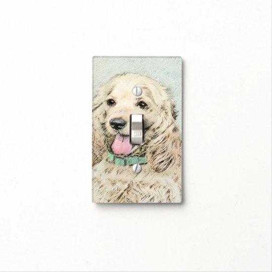 Cocker Spaniel Buff Painting - Original Dog Art Light Switch Cover