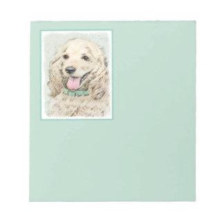 Cocker Spaniel Buff Painting - Original Dog Art Notepad