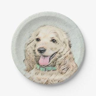 Cocker Spaniel Buff Painting - Original Dog Art Paper Plate
