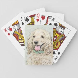 Cocker Spaniel Buff Painting - Original Dog Art Playing Cards