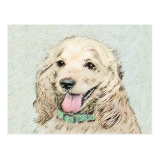 Cocker Spaniel Buff Painting - Original Dog Art Postcard