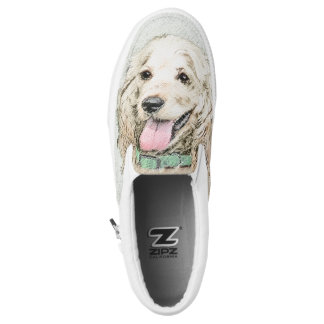 Cocker Spaniel Buff Painting - Original Dog Art Slip-On Sneakers