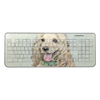 Cocker Spaniel Buff Painting - Original Dog Art Wireless Keyboard