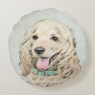 Cocker Spaniel (Buff) Round Pillow