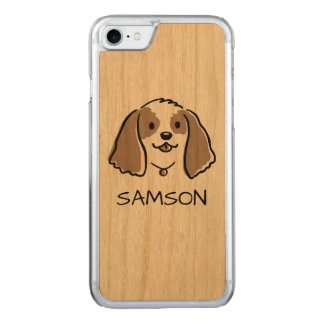 Cocker Spaniel Cartoon Dog - Custom Text Carved iPhone 8/7 Case