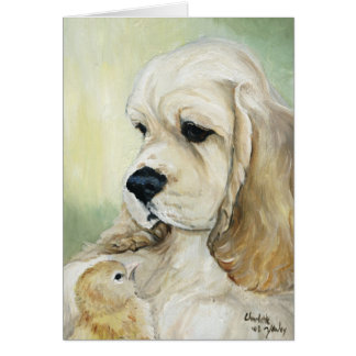 """Cocker Spaniel & Chick"" Dog Art Greeting Card"