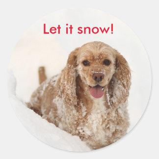 Cocker Spaniel covered in snow sticker