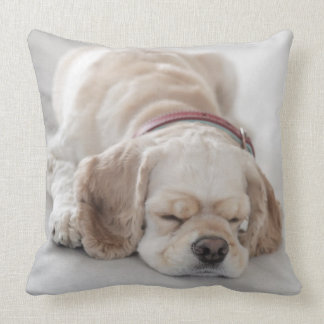Cocker spaniel dog sleeping throw pillow