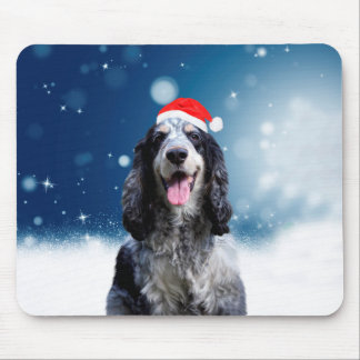 Cocker Spaniel Dog With Christmas Santa Hat Mouse Pad