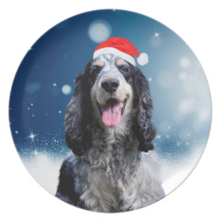 Cocker Spaniel Dog With Christmas Santa Hat Plate