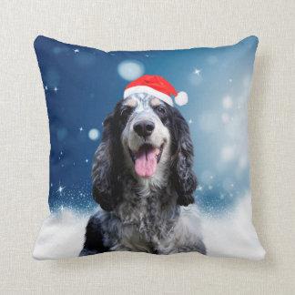 Cocker Spaniel Dog With Christmas Santa Hat Throw Pillow