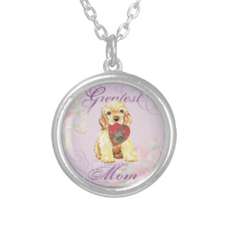Cocker Spaniel Heart Mom Silver Plated Necklace