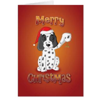 cocker spaniel - mistletoe - merry christmas card