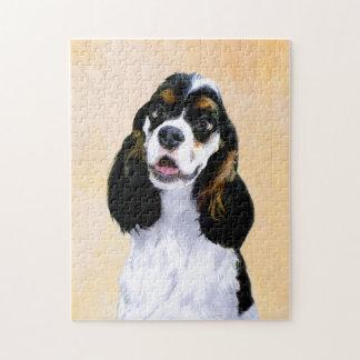Cocker Spaniel (Parti) Painting - Original Dog Art Jigsaw Puzzle