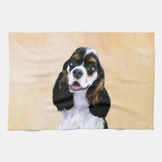 Cocker Spaniel (Parti) Painting - Original Dog Art Kitchen Towel