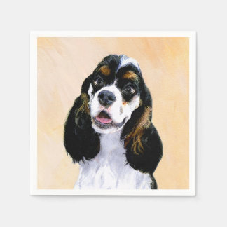 Cocker Spaniel (Parti) Painting - Original Dog Art Paper Napkins