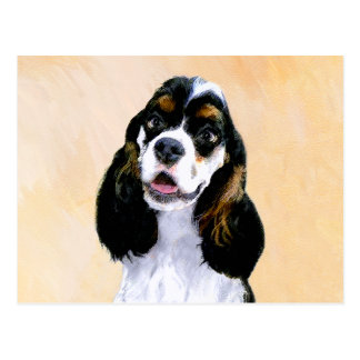 Cocker Spaniel (Parti) Painting - Original Dog Art Postcard