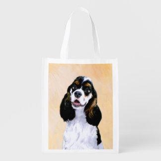 Cocker Spaniel (Parti) Painting - Original Dog Art Reusable Grocery Bag
