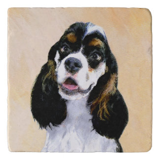 Cocker Spaniel (Parti) Painting - Original Dog Art Trivet