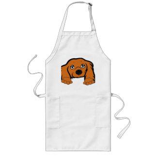 cocker spaniel peeking red long apron