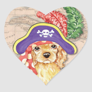 Cocker Spaniel Pirate Heart Sticker