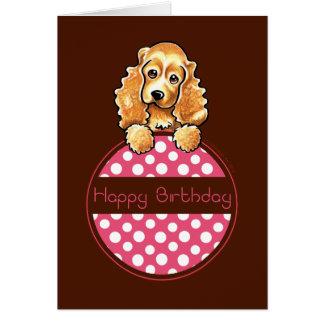 Cocker Spaniel Polka Hangtag Happy Birthday Card