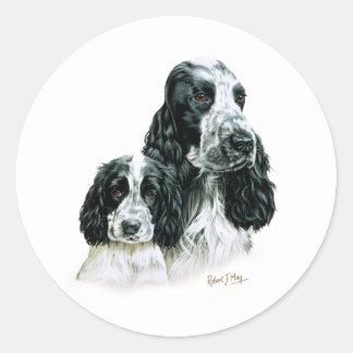 Cocker Spaniel & Pup Round Sticker
