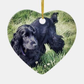 Cocker Spaniel Puppy Ceramic Heart Ornament