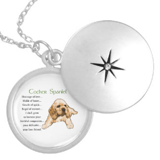 Cocker Spaniel Puppy Lovers Art Silver Plated Necklace