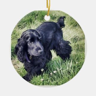Cocker Spaniel Puppy Round Ceramic Ornament