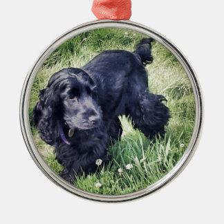 Cocker Spaniel Puppy Silver-Colored Round Ornament