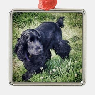 Cocker Spaniel Puppy Silver-Colored Square Ornament
