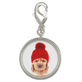 Cocker spaniel puppy with cap portrait charm