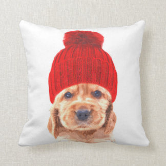 Cocker spaniel puppy with cap portrait throw pillow