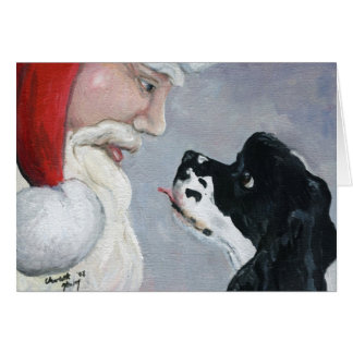 """Cocker Spaniel & Santa"" Dog Art Greeting Card"