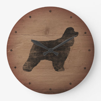 Cocker Spaniel Silhouette Rustic Style Large Clock