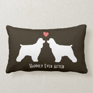 Cocker Spaniel Silhouettes with Heart and Text Lumbar Pillow