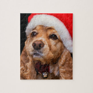 Cocker Spaniel Wearing Santa Hat Jigsaw Puzzle