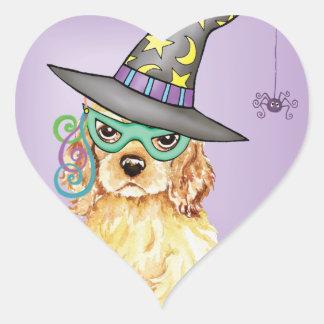 Cocker Spaniel Witch Heart Sticker